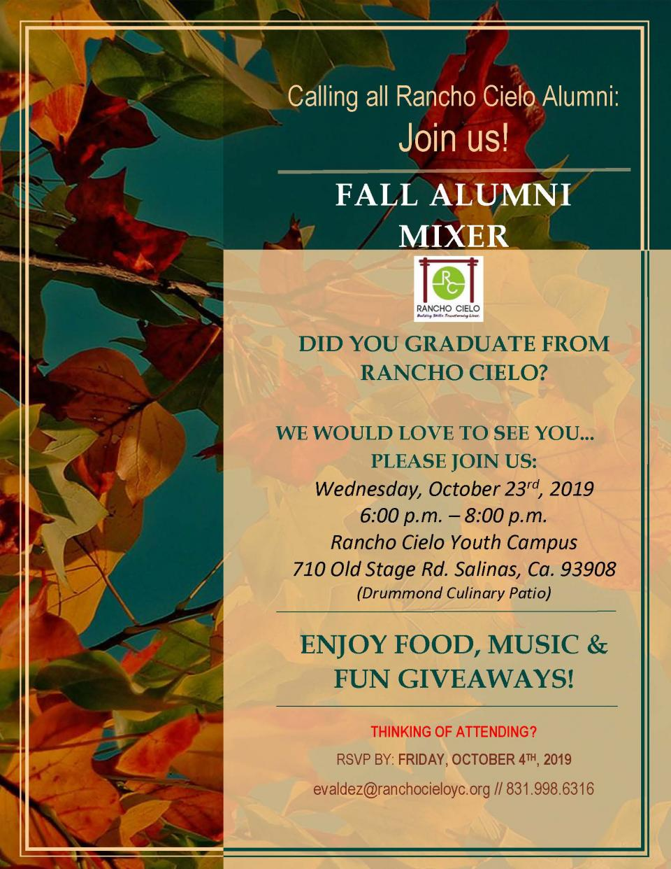 Fall Alumni Mixer on Oct 23, 6-8pm at Rancho Cielo
