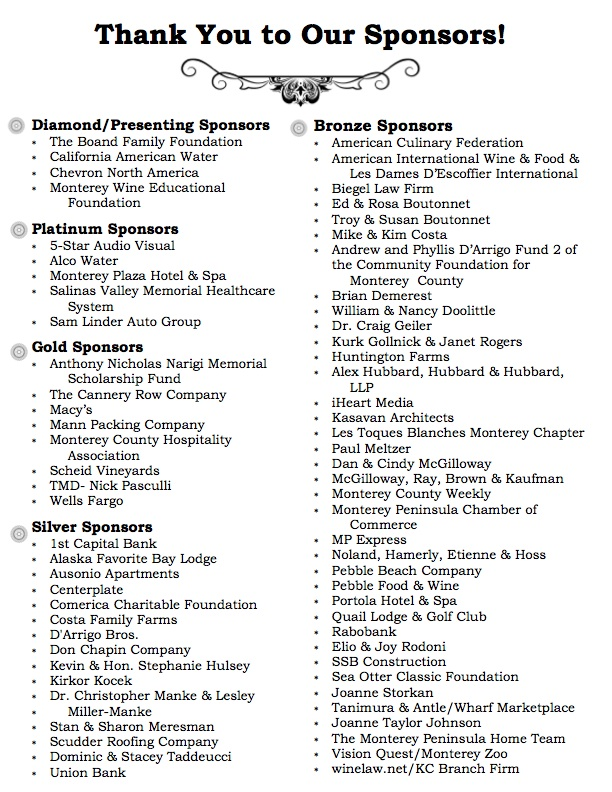 Culinary Roundup Sponsors
